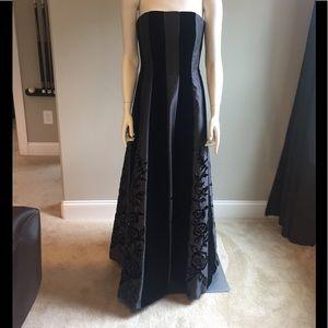Cache Satin & Velvet Beaded Gown